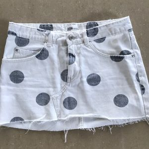 Polka dot denim mini skirt Zara size small